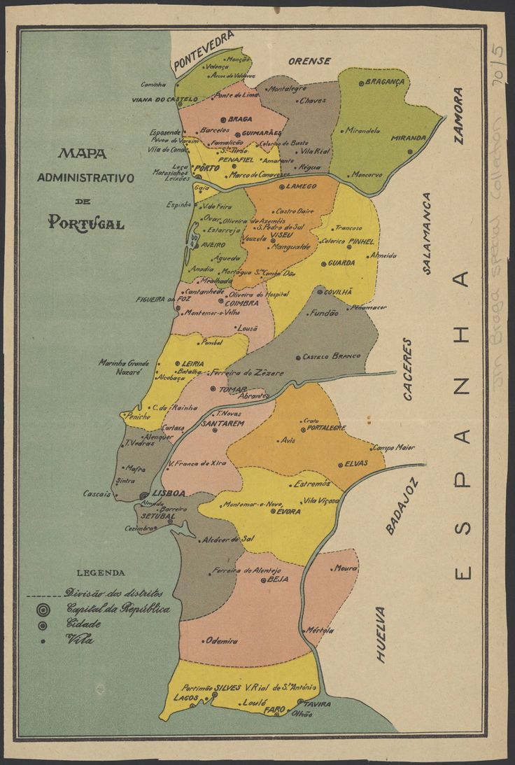 Map of the administrative districts of Portugal, showing populated places from the 1920s