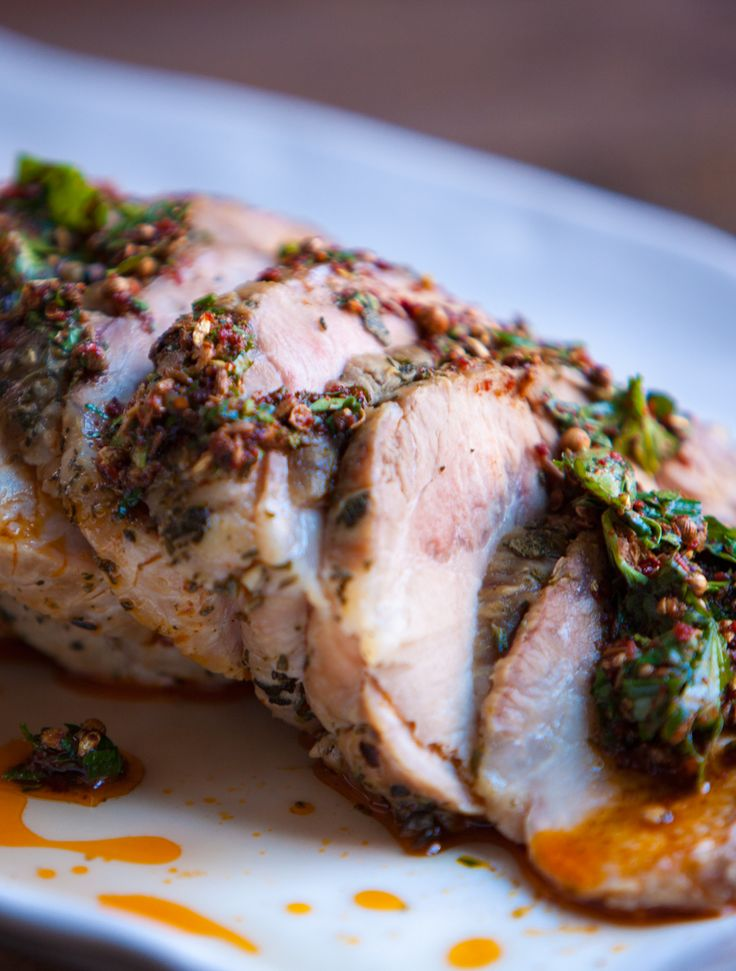 ROASTED PORK LOIN WITH CHERMOULA | This herb-crusted pork loin cooks ...