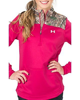 Under Armour Women's Caliber Fury Pink and Camo 1/4 Zip Jacket