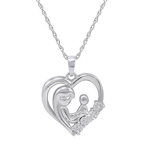 Mothers Day Gift Diamond Heart Pendant Necklace Sterling Silver For Mom Mother