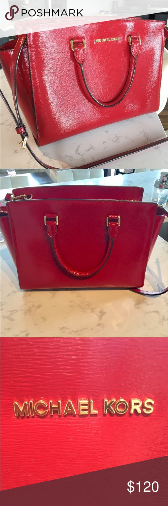Red Michael Kors Bag Barely used, medium to large sized bag Michael Kors Bags Shoulder Bags