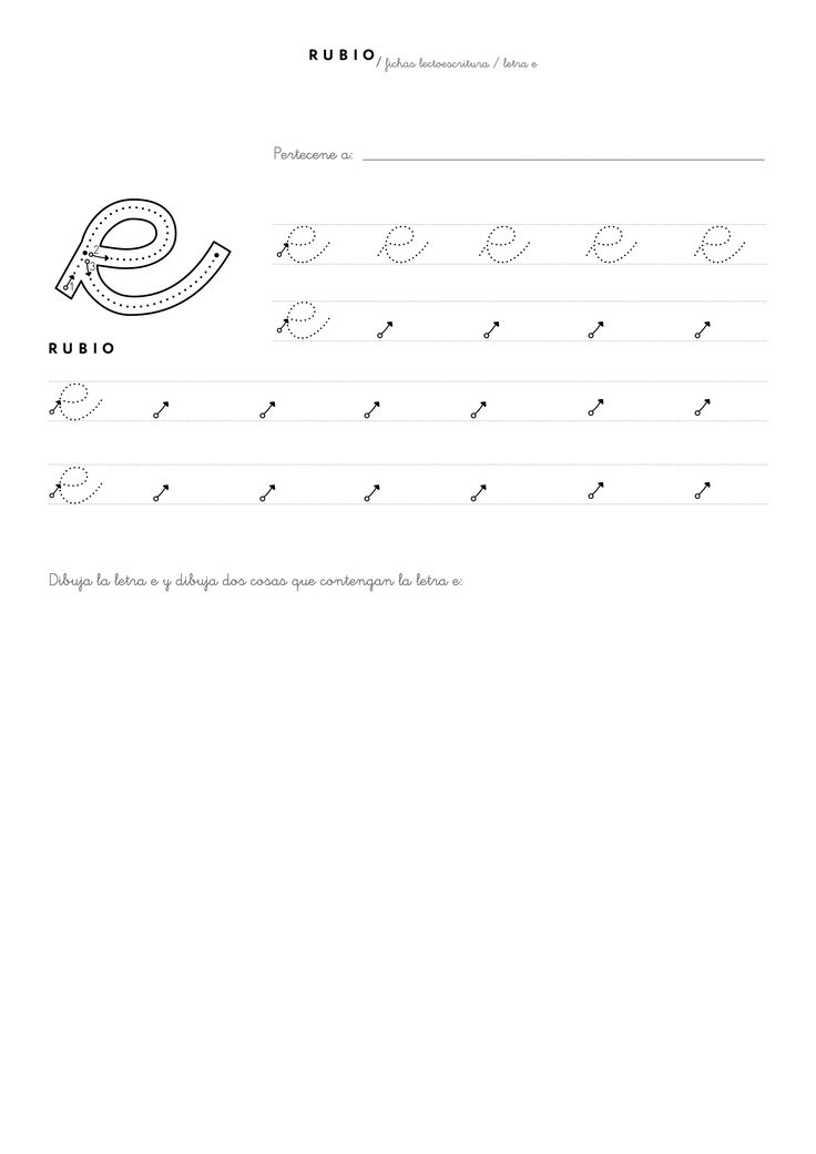 Ficha lectoescritura PDF letra e para niños de 5 años (3º Educación Infantil)