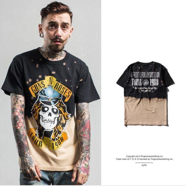 Haute qualité noir hommes/femmes rock hip hop Teinture jet d'encre rock impression Guns n Roses bande mâle t-shirt d'été D'o-Cou t-shirt