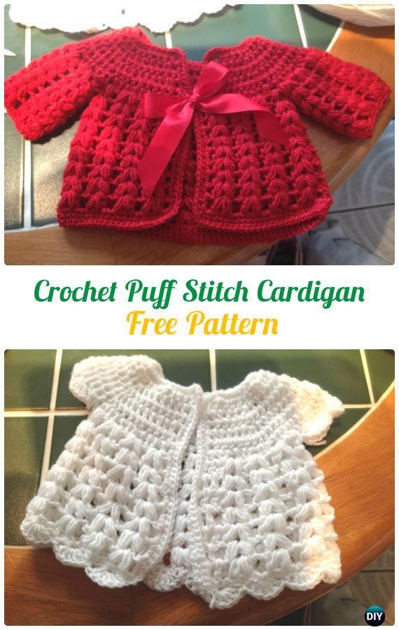 Crochet V Puff Stitch Cardigan Free Pattern - #Crochet Kid's Sweater Coat Free Patterns
