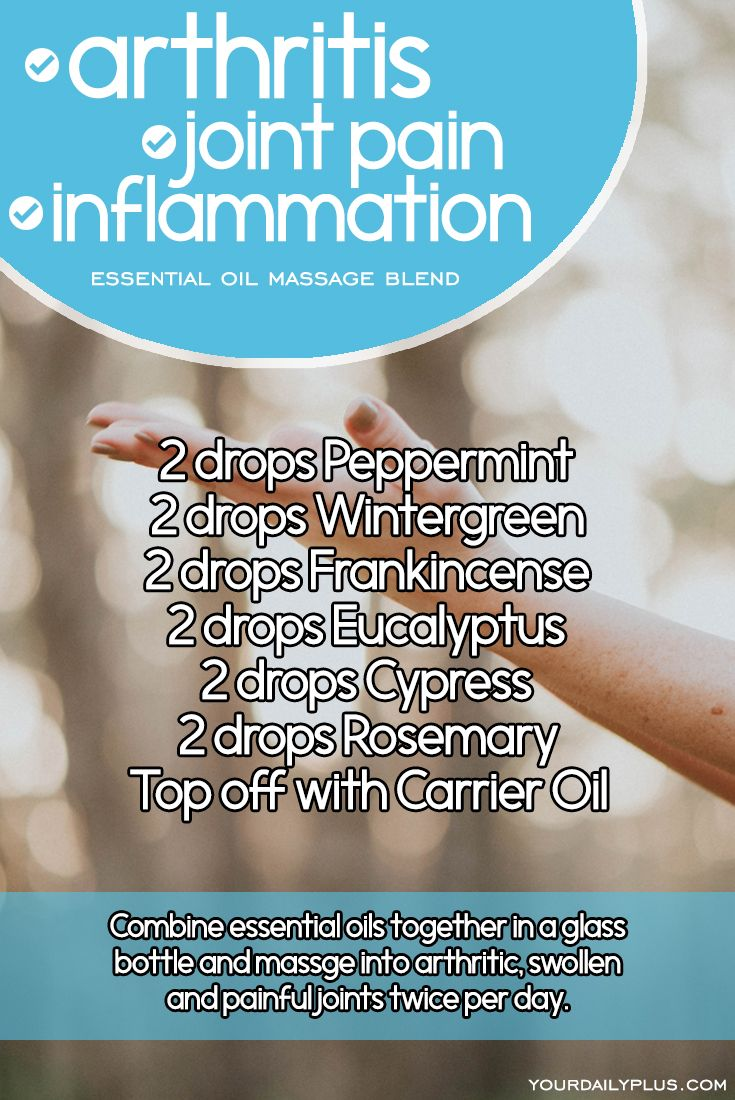 Essential oil massage blend for arthritis, joint pain and inflammation. Try this natural treatment using Peppermint, Wintergreen, Frankincense, Eucalyptus, Cypress and Rosemary. (Joint Pain Relief Essential Oils)