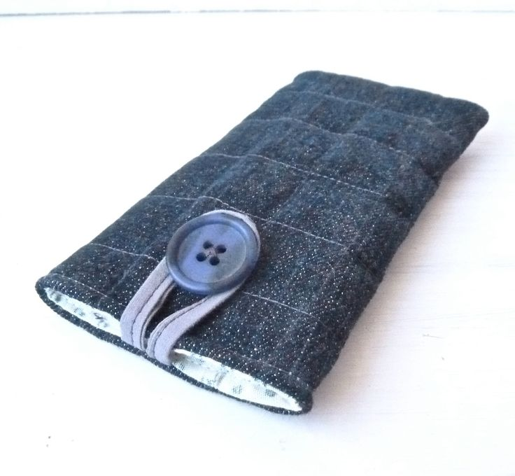 Denim Iphone 5 Sleeve Padded - Recycled Jeans Vegan Fabric Iphone 5 Case - Cell Phone Pouch - Repurposed Womens Gift.