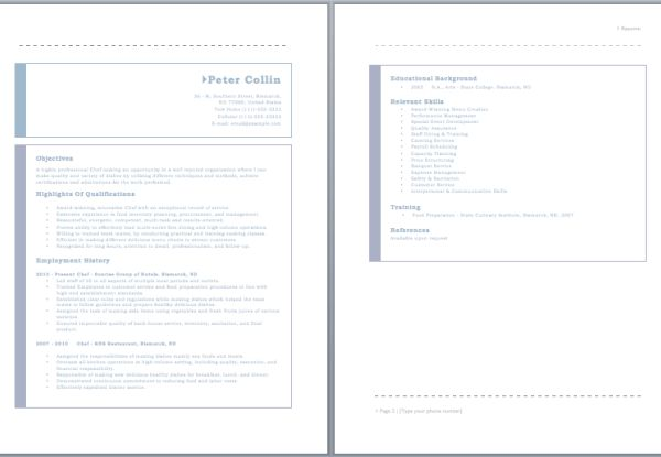 Chef Resume | Sample Resumes