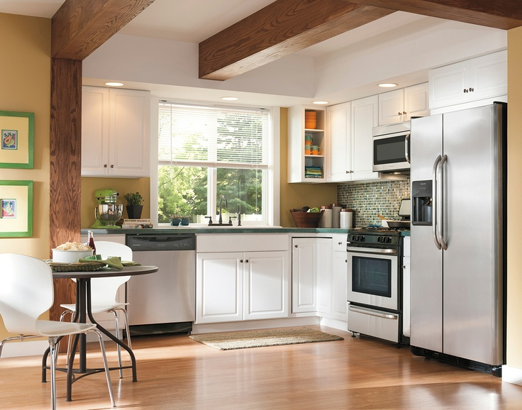 A white cabinet finish that will coordinate well with many