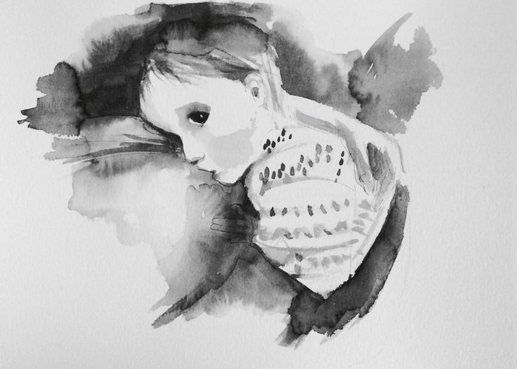 Watercolor sketch breastfeeding