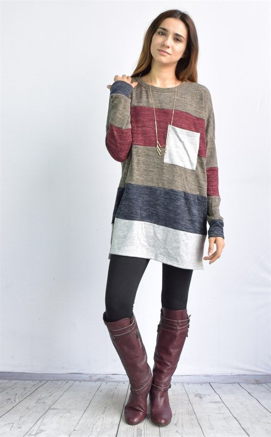 "A Super soft  color blocked knit tunic . Cute trendy long body, front pocket,matching cuffs  this is perfect match for your leggings and riding boots.The look is a little bit cozy, a little bit cute, and completely on-trend. SIZES  Small (0-6) Medium (4-10) Large (10-14) XLarge (14-18) Fits relaxed. Model is size 4,5'6"" and she wears size small.  Made in USA   Eloges Exclusive."