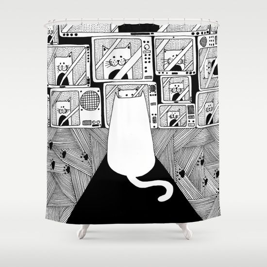 Honey! The cat is watching TV again! Shower Curtain