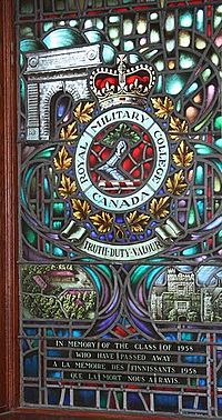 Stained glass window featuring image of Memorial Arch at Royal Military College of Canada, Hatley Castle at Royal Roads Military College and Royal Military College Saint-Jean