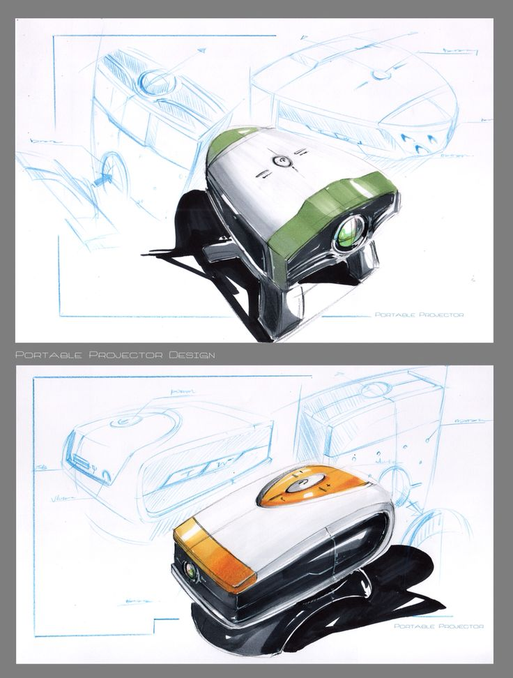 Portable projector  Tool:copic marker pen  This is a concept design of a portable projector demonstration, hope you like them.