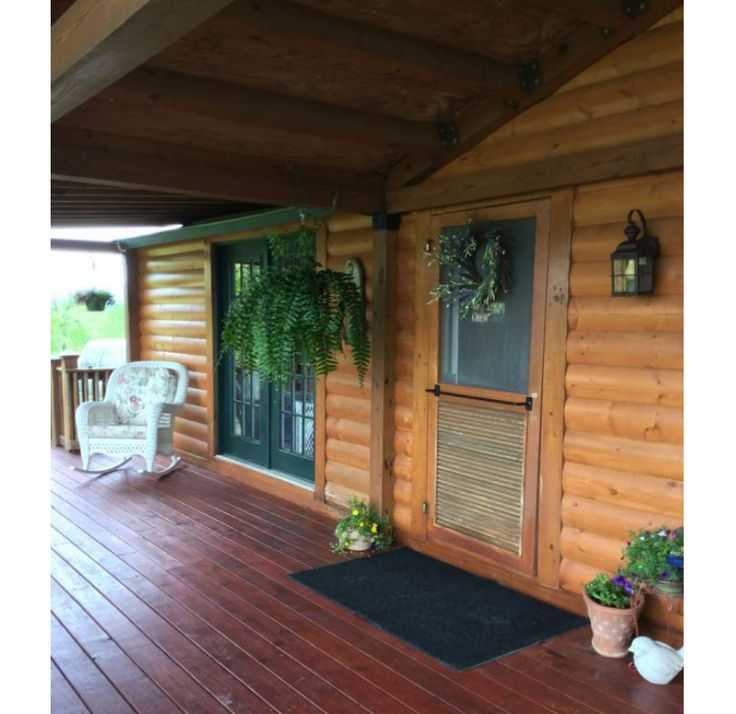 Adding Porch To Doublewids: Log Wood Siding On A Mobile Home - Front Door...