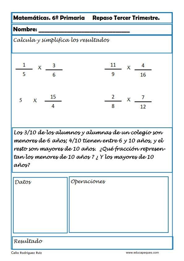 Ejercicios De Matemáticas Fichas Para Sexto De Primaria Fichas De Matematicas Matematica Ejercicios Matematicas