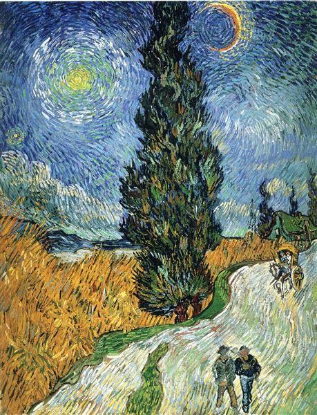 Road with Cypresses, 1890 by Vincent van Gogh. Post-Impressionism. landscape. Rijksmuseum Kröller-Müller, Otterlo, Netherlands