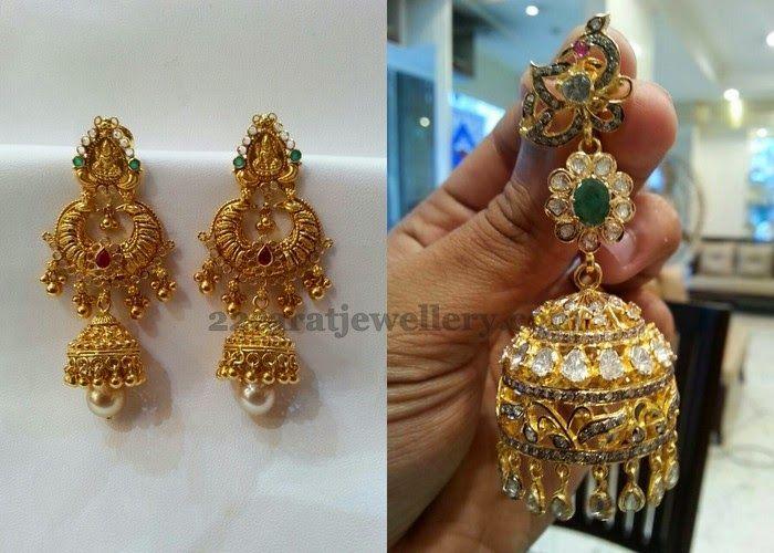 Jewellery Designs: Lakshmi Chandbalis with Pachi Work