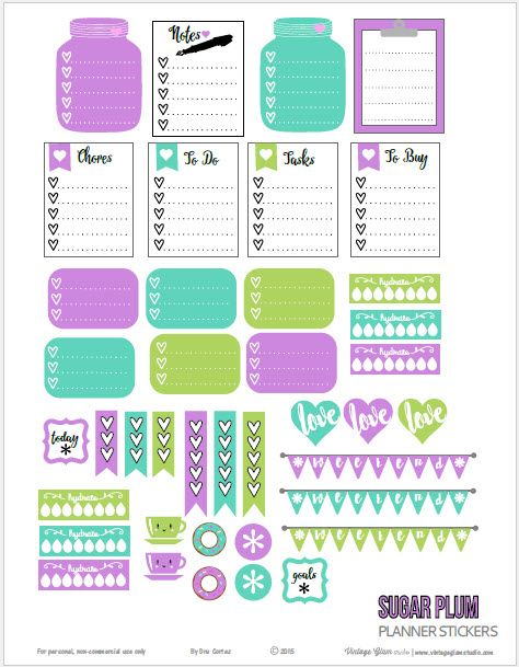 Free printable download of planner stickers suitable for vertical weekly planners and other types of papercrafting. Free for personal use only.