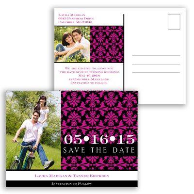 Damask Photo - Begonia - Save the Date Postcard