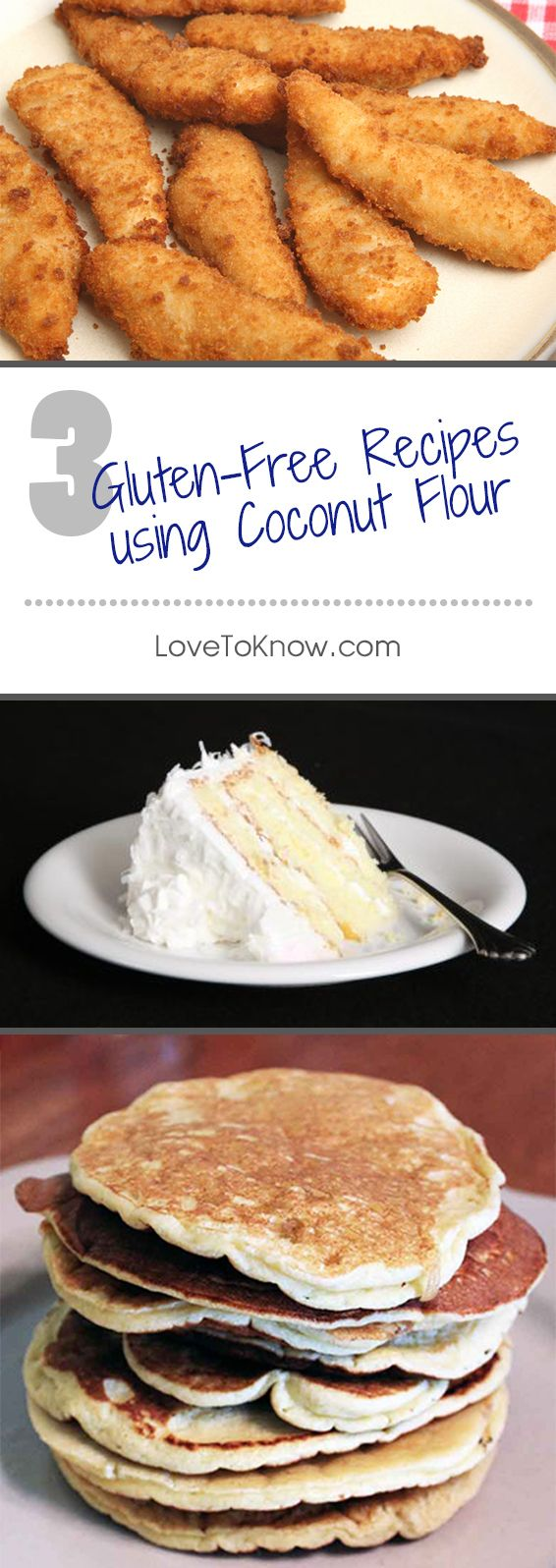 Coconut cake with coconut flour? Yes please!   Check out these three yummy gluten-free recipes made with coconut flour.