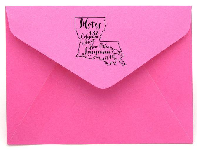 Personalized State Return Address Stamp on BourbonandBoots.com #louisiana