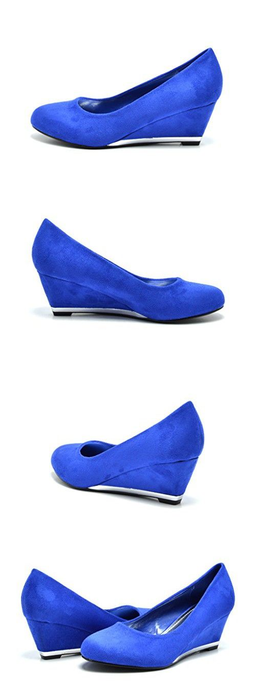 Sassy Sexy ELLE-2 New Women's Faux Suede/Glitter Upper Low Wedge Heels Pumps Shoes, ELLE-2-ROYAL BLUE, 10 B(M) US