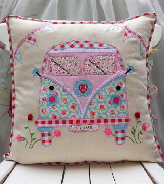 """Camper Van Pillow Cushion cover Cath Kidston Linen Other Fabric Home Décor Unique Handmade Applique Birthday gift 16""""x16"""" on Etsy, £19.69"""