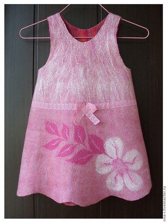 Сарафан валяный для девочки - бледно-розовый,одежда для девочек,одежда из…