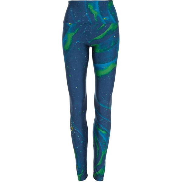 Triya Big Bang Leggings ($101) ❤ liked on Polyvore featuring pants, leggings, blue, blue pants, galaxy leggings, nebula leggings, galaxy pants and galaxy print leggings