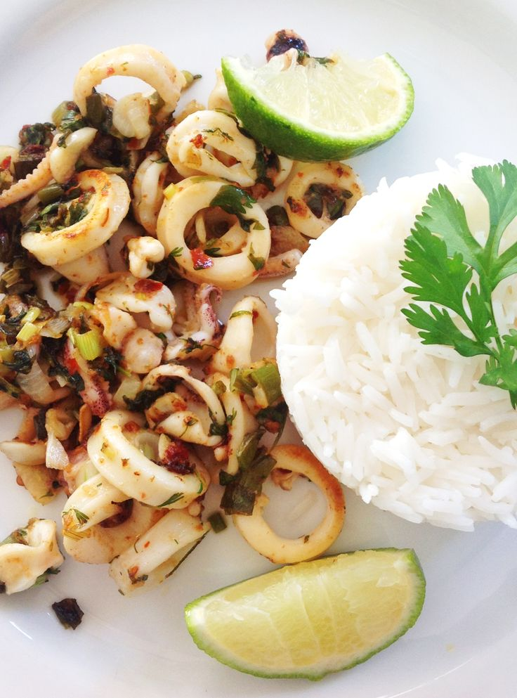 Squid with chilli and lime. Inspired by Shelina Permalloo