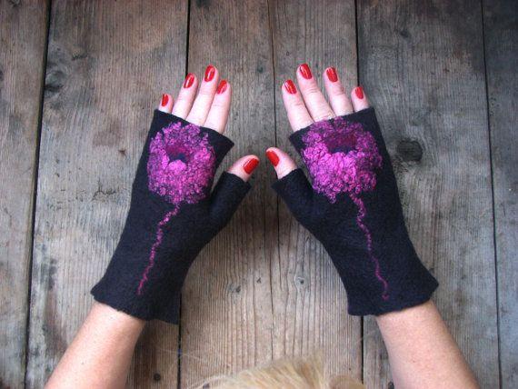 Dark Grey or black merino wool felted mittens with by RozmaitElena