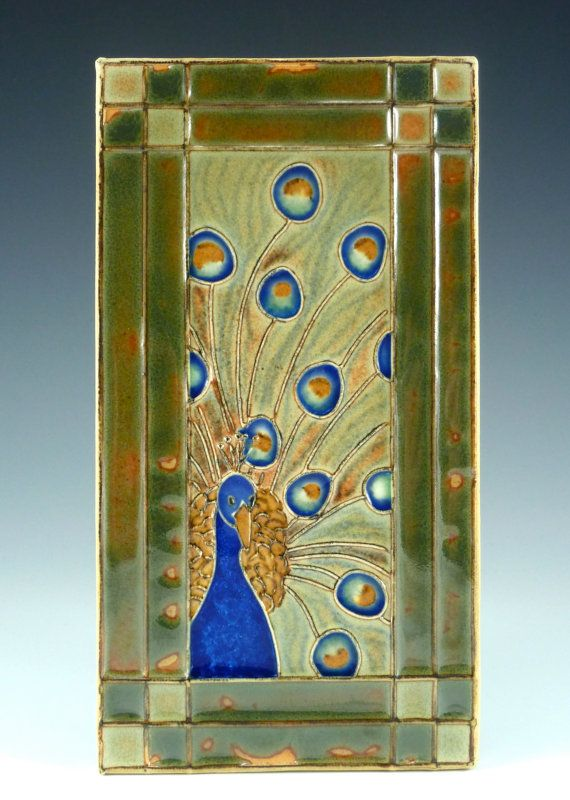 Handmade ceramic tile of Elegant Peacock with a Craftsman style border