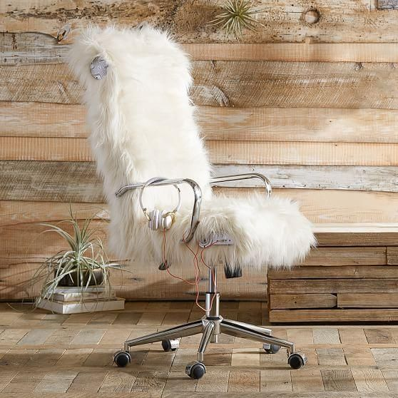Seating – We've covered this cozy Gamer Desk Chair in our plushest ivory faux fur for a fun look and superior comfort. Each rolled section is deeply cushioned and the …