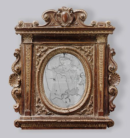 "Tabernacle mirror frame with sliding covers [Italy; Florence] The Metropolitan Museum of Art. From the website: ""A myriad of meanings, both positive and negative, were attached to mirrors in the Renaissance. Symbols of vanity, voluptuousness, deceit, humility, and pride, mirrors were also associated with prudence, a virtue. Venus, goddess of love, frequently looked at her own comely reflection in a looking glass. By the sixteenth century, the mirror was a codified attribute of female…"
