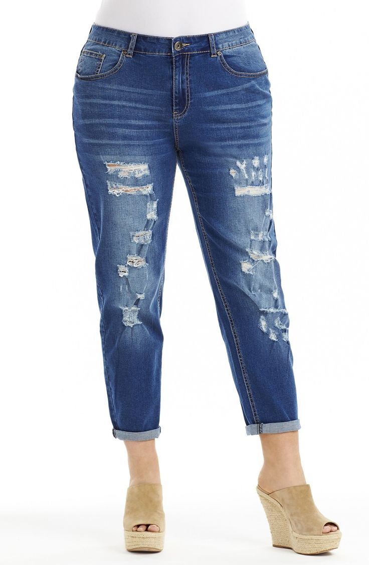 Heavy 'Rip' Boyfriend Jean indigo | Style No: J3089 Stretch Denim Boyfriend Jean. This easy fit Jean has a heavy rip detail on the front. It has roll up cuffs and a distressed denim wash. #dreamdiva #dreamdivafiles #fashion #plussize