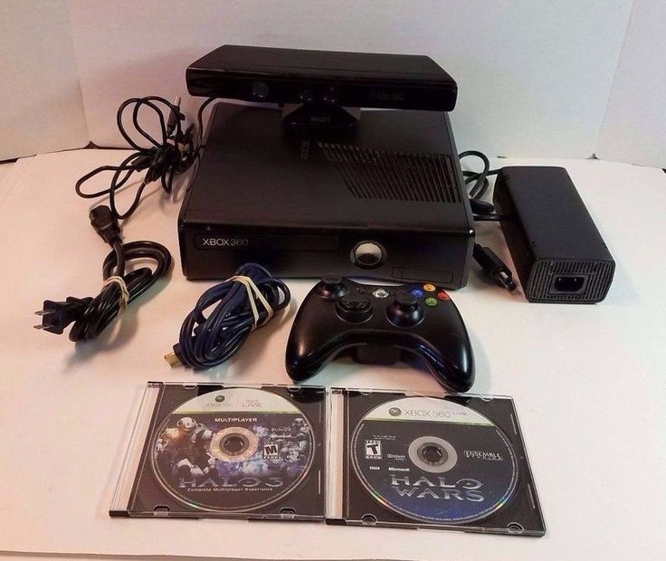 Microsoft Xbox 360 4GB Bundle OEM Controller Kinect Halo 3 Wars Black Console #Microsoft