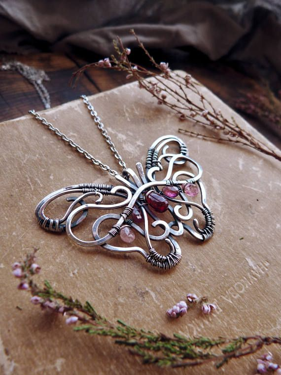 Butterfly sterling silver necklace - Red garnet pendant - wire wrapped pendant - luxury classic jewelry Romantic gift for her