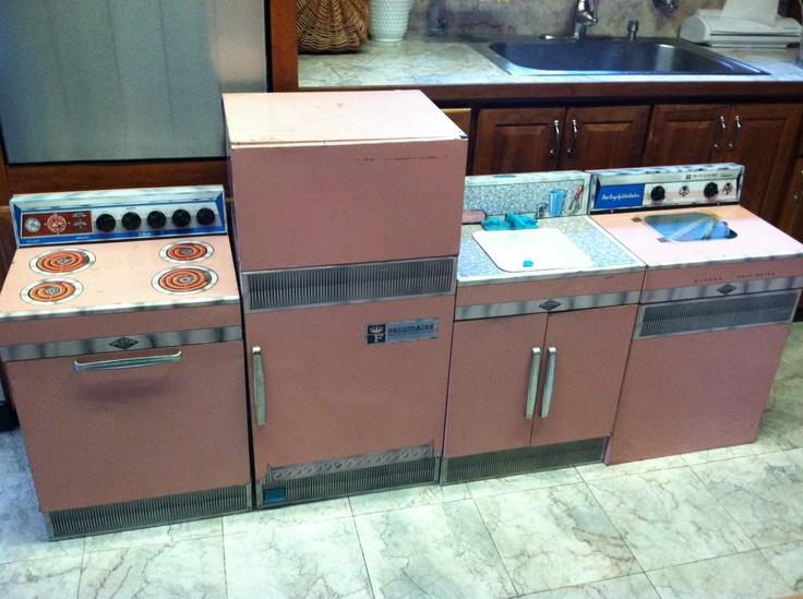Pink Play Kitchen Set vintage toy corner china cabinet hutch tin litho tea set delft
