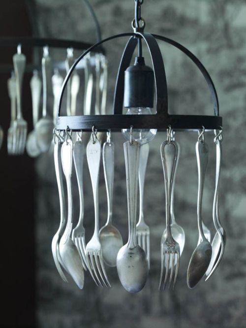 "kitchen ""chandelier"" with flatware... so does this mean you no longer need to set the table? Just grab and go. lol"
