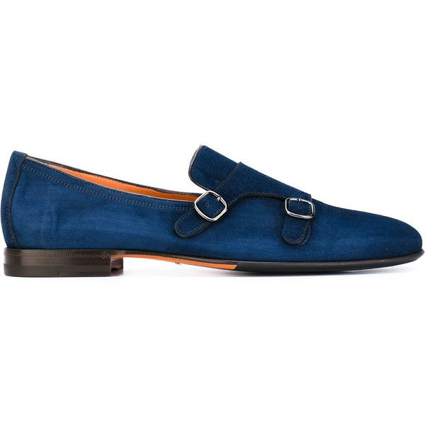 Santoni double strap monk shoes (585 AUD) ❤ liked on Polyvore featuring men's fashion, men's shoes, men's dress shoes, blue, mens double monk strap shoes, mens leather shoes, mens blue leather shoes, mens blue dress shoes and mens blue shoes