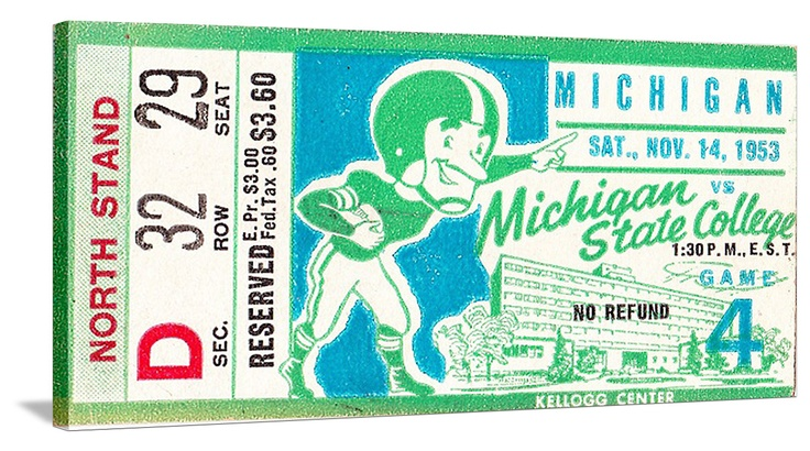 Michigan State football tickets like this 1953 MSU vs. Michigan ticket. The best vintage football tickets are at http://www.shop.47straightposters.com/Michigan-Football-Tickets-Michigan-Michigan-State-Detroit_c18.htm