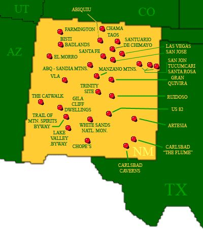 New Mexico Nm Us Attractions Click On The Map Or Select