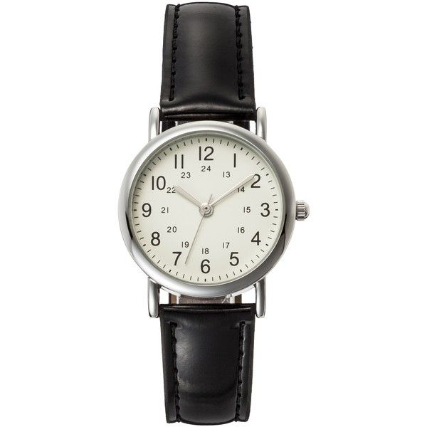 Women's Analog Watch with Faux Leather Straps - Black ($8.79) ❤ liked on Polyvore featuring jewelry, watches, black watches, fossil jewelry, fossil wrist watch, analog watch and kohl jewelry