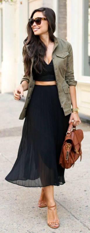 A casual jacket will complete this black skirt and crop top combo. Via Kat Tanita  Skirt: Aritzia, Top: Marissa Webb, Jacket: Banana Republic, Heels: Brian Atwood