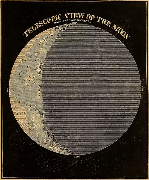 Telescopic view of the Moon, from Smith's Illustrated Astronomy, 1855 edition.