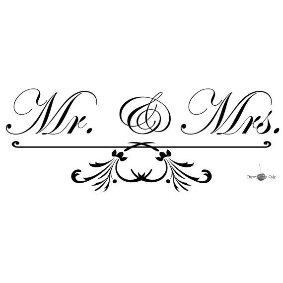 Mr & Mrs  Vinyl Wall Saying by CherryChipCafe on Etsy, $15.00