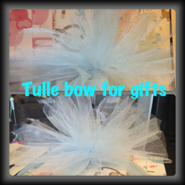 Tulle bow adds to gift! Easy & cheap!!