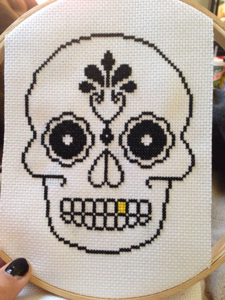 My first cross stitched skull! Not perfect but awesome outcome!
