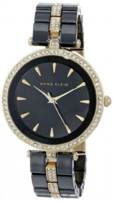 Relógio Anne Klein Women's AK/1444BKGB Swarovski Crystal Accented Gold-Tone and Black Ceramic Bracelet Watch #relogio #anneKlein