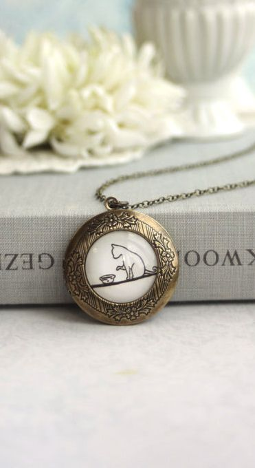 My Lovely Cat Locket Necklace. Round Antiqued Brass Floral Locket Jewelry. Daughters. Sis, Cousins, Kitty, Pet Cat Lover By Marolsha.